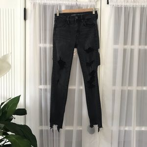 American Eagle High Rise Stretch Destroyed Jeans